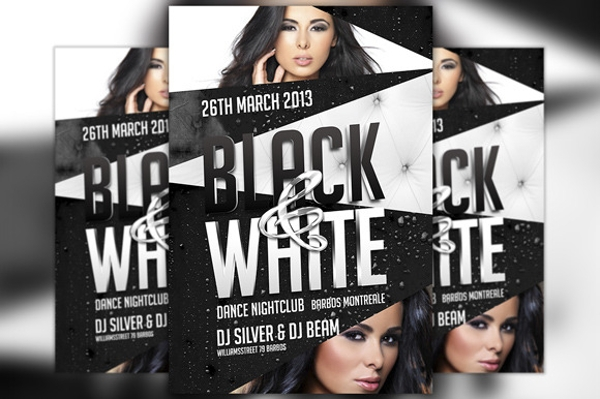 spectacular black and white party flyer
