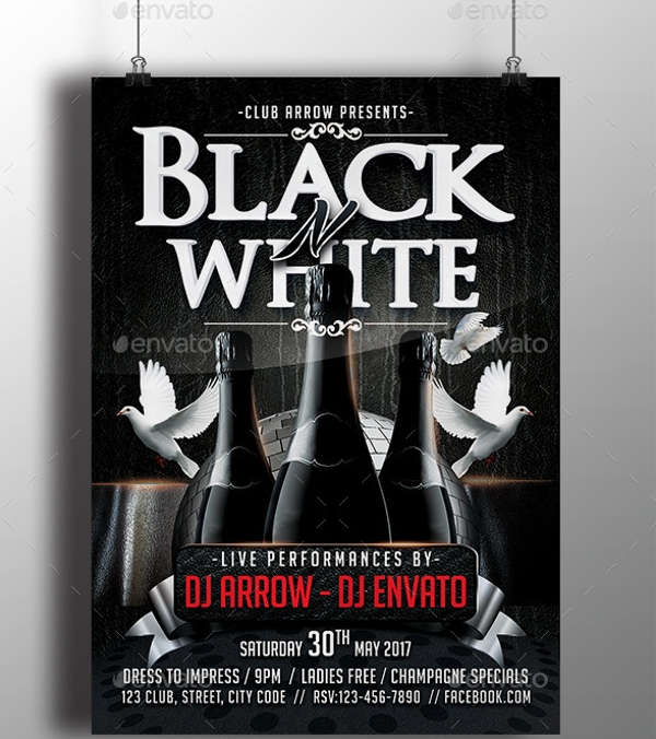 creative black and white party flyer