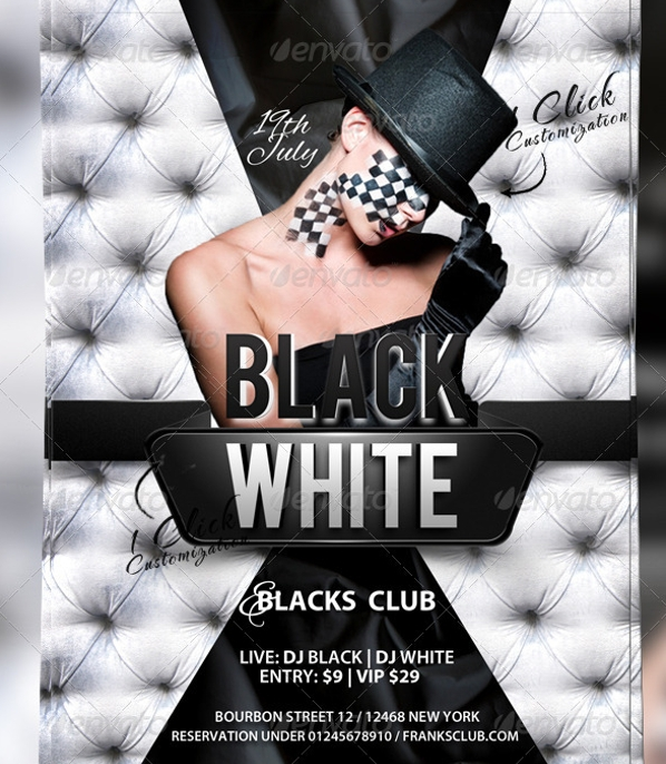attractive black and white party flyer