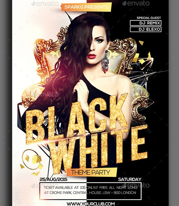 marvelous black and white party flyer
