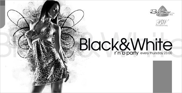 wonderful night black and white party flyer1