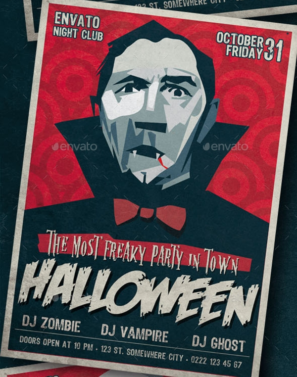 retro style halloween party flyer