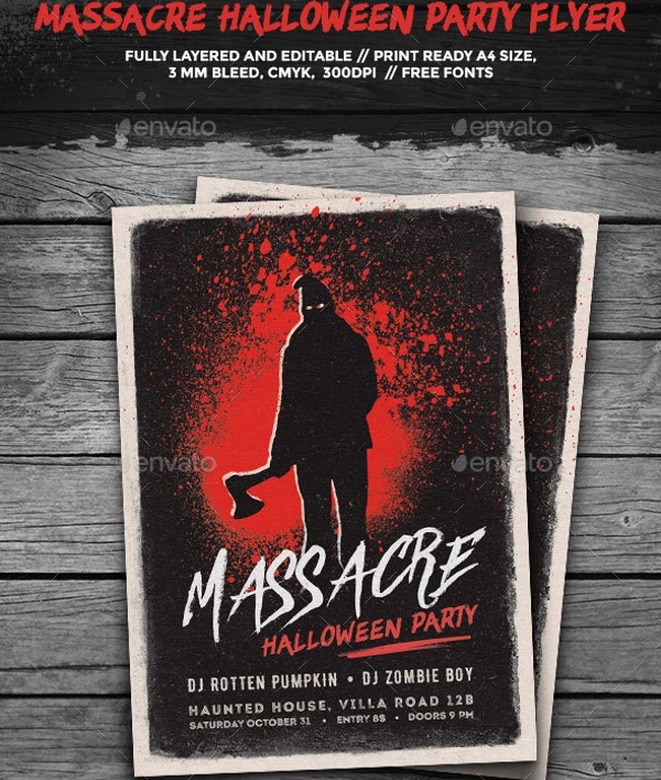 massacre halloween party flyer