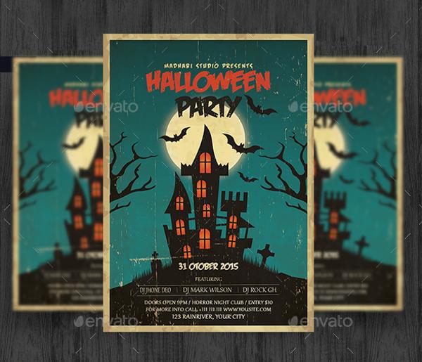 vintage halloween party flyer