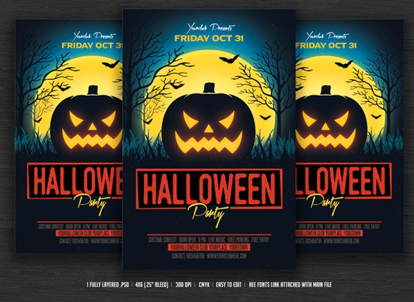 wondrous hallowen party flyer