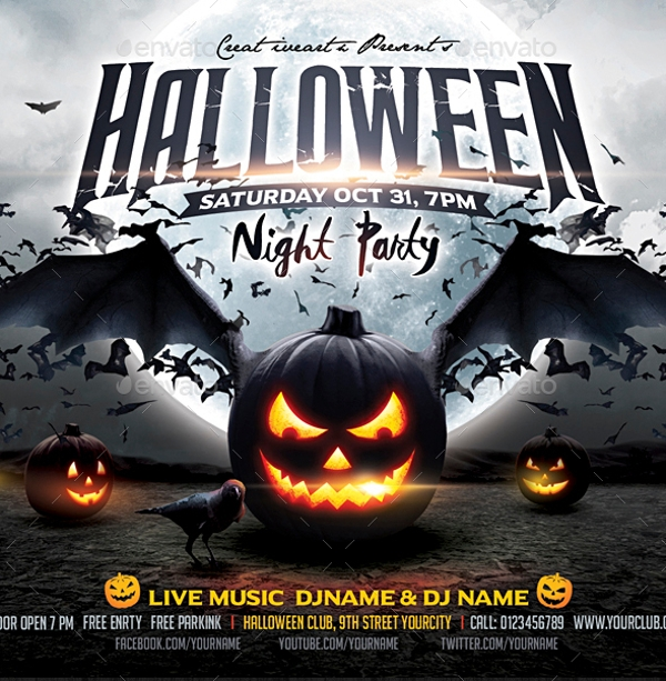 simple hallowen party flyer