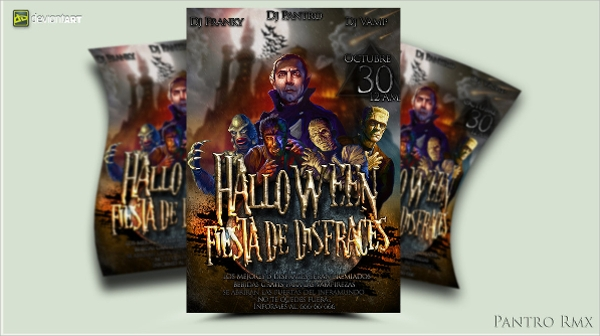 creative hallowen party flyer