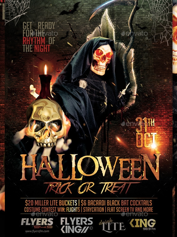 attractive hallowen party flyer