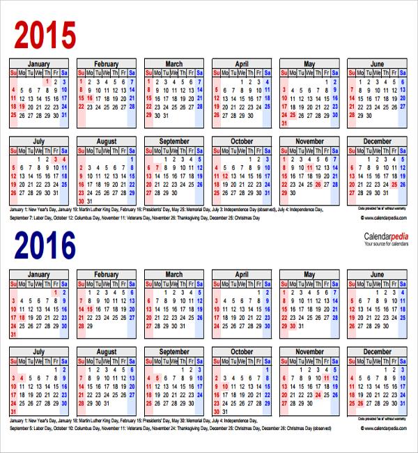 year calendar template