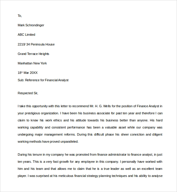 sample financial reference letter template 6 free documents in