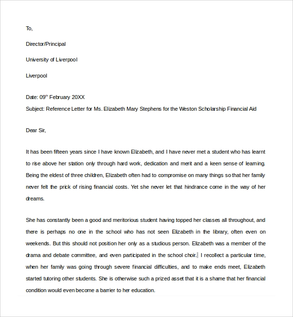 sample financial reference letter