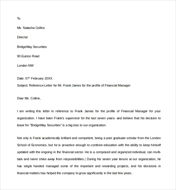 7 financial reference letter templates to download sample templates financial manager reference letter expocarfo Choice Image