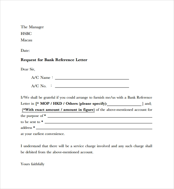 financial reference letter from bank
