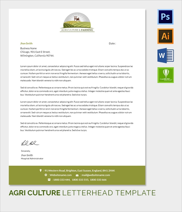 farming letter head template
