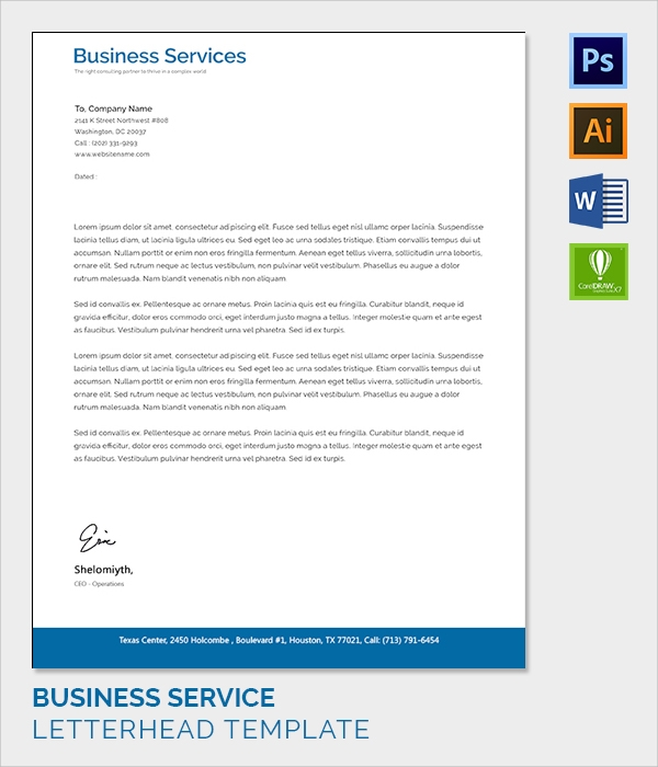business services individual letter head template