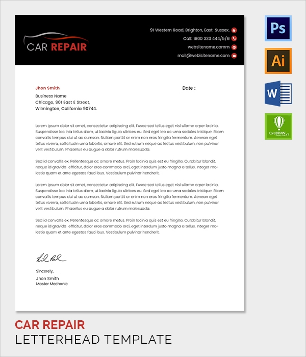 car repair letter head template