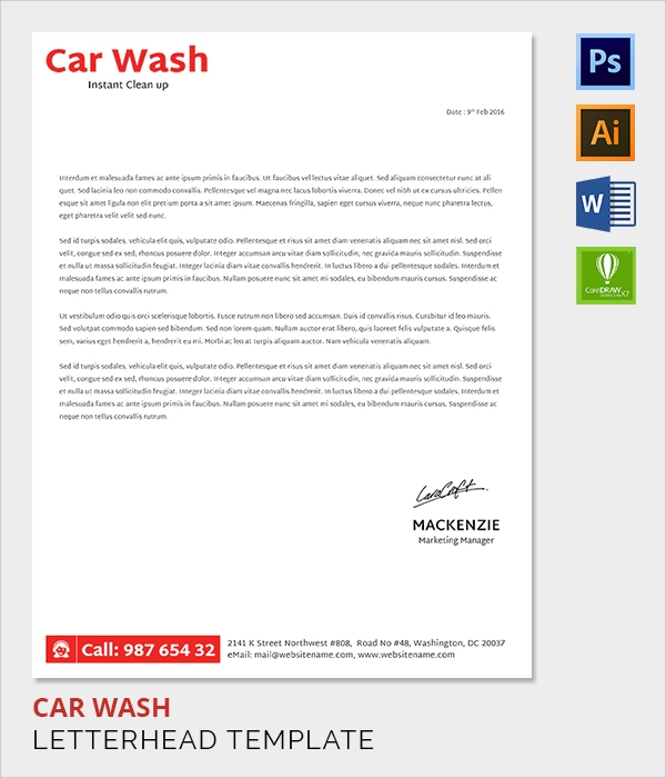 car wash letter head template
