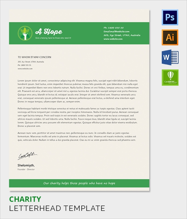 charity letter head template