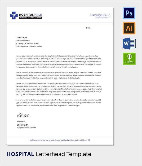 38 company letterhead templates free sample example format hospital letter head template thecheapjerseys Image collections