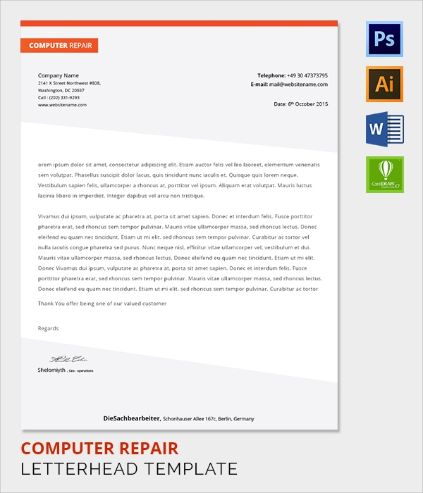 computer repair letter head template