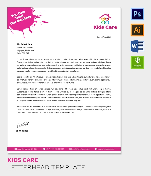 baby care letter head template