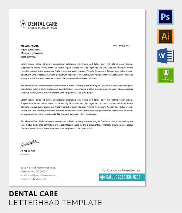dental care letter head template