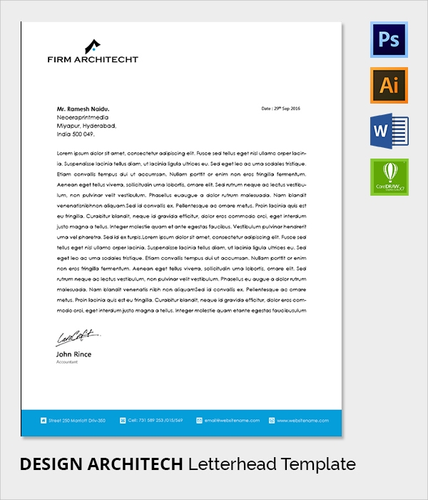 architect letter head template