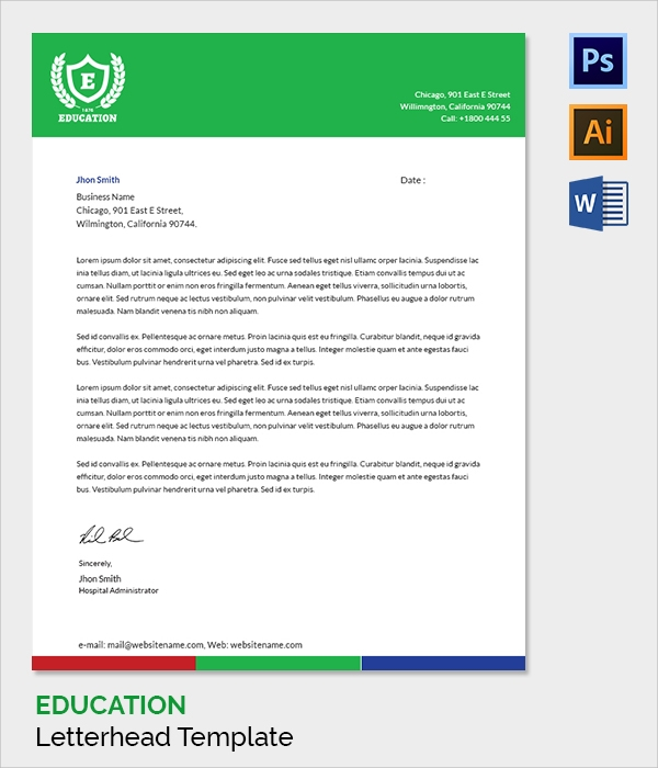 education letter head template