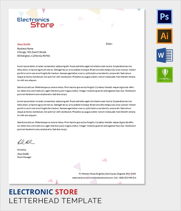 electrical store letter head template
