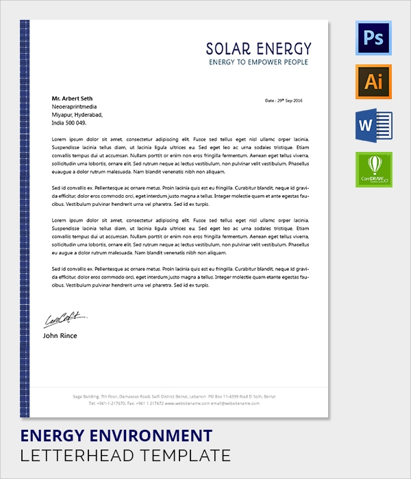 environment energy letter head template