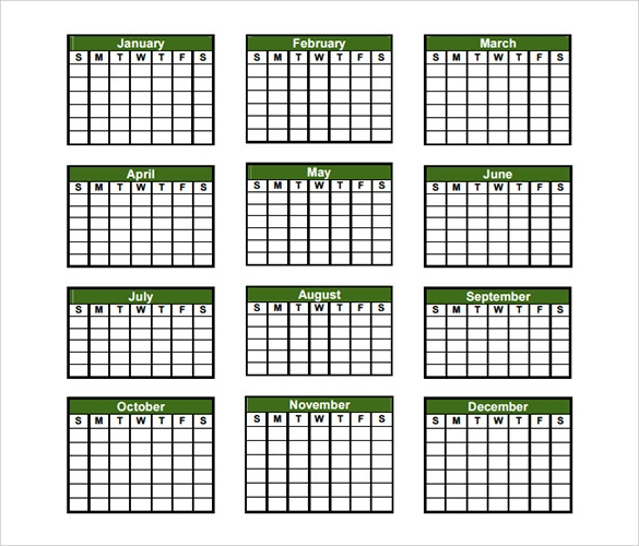 Yearly Calendar Template. Blank Calendar Template Download A Free