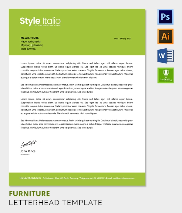 furniture letter head template
