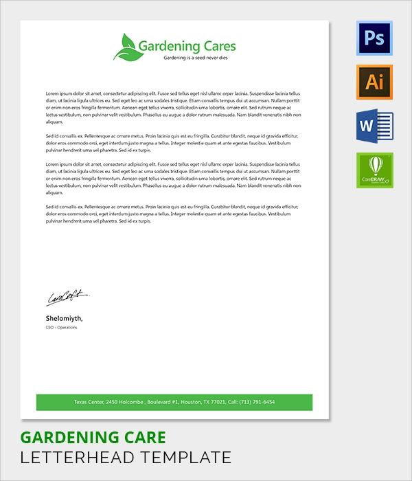 gardening care letter head template