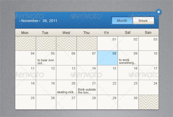 event calendar psd