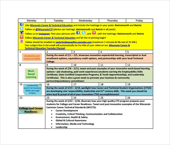 social media calendar pdf