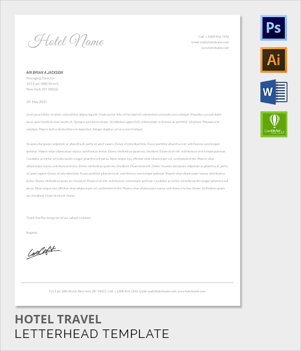 travel hotel letter head template