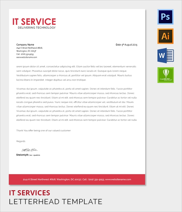 it services letter head template