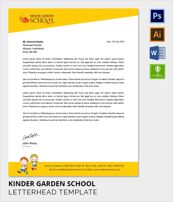 kinder garden letter head template
