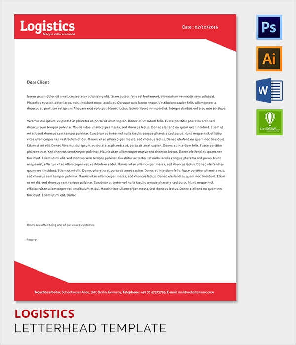 logistics letter head template