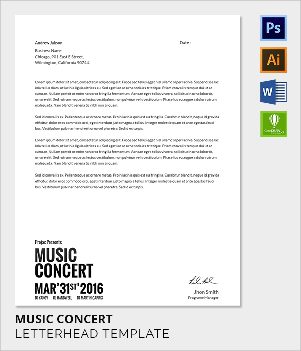 music band letter head template