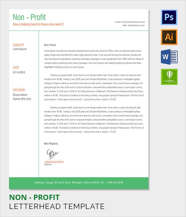 non profit letter head template