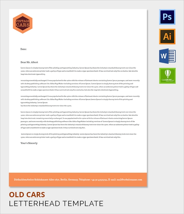 old cars letter head template