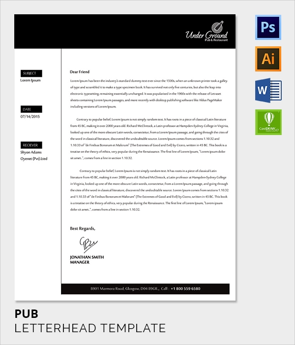 pub letter head template