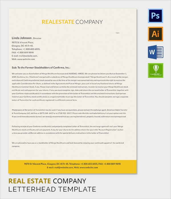 real estate company letter head template