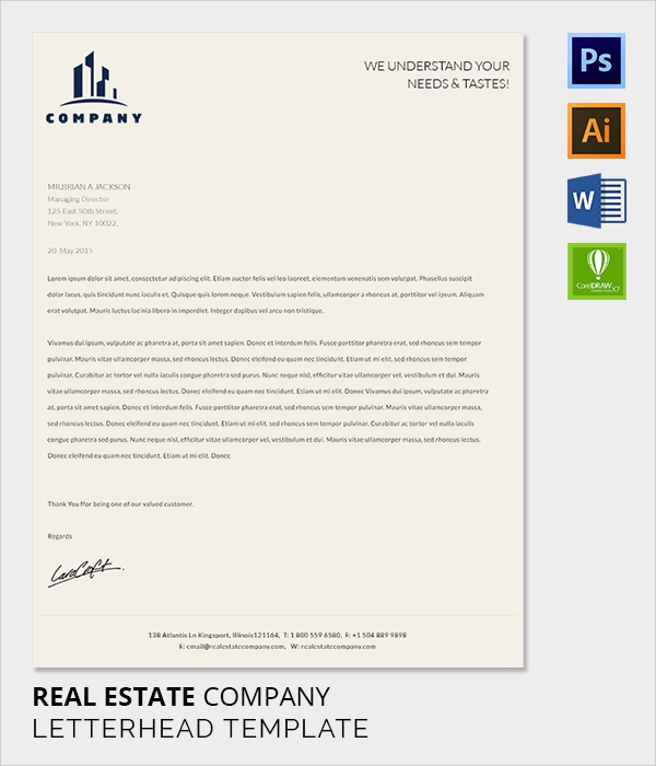 38 company letterhead templates free sample example format real estate letter head template spiritdancerdesigns Images
