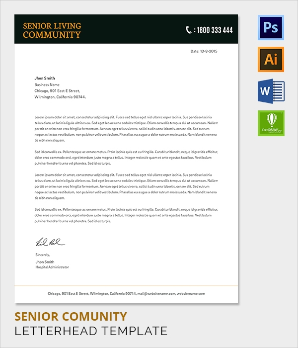 senior living community letter head template