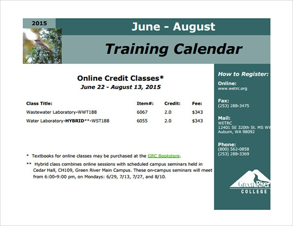 Calendar Template 39 Download Documents in Word Excel PDF PSD – Training Calendar Template