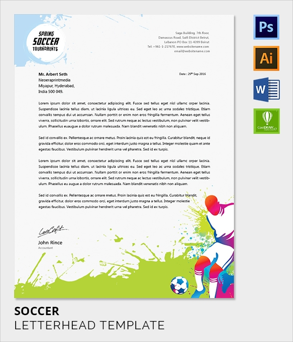 soccer letter head template