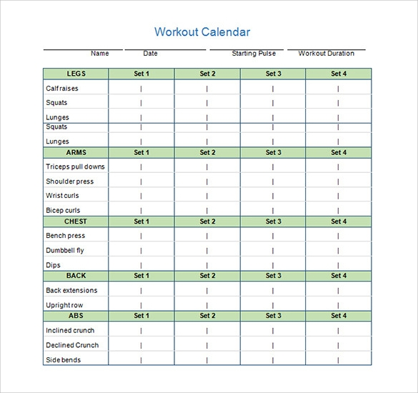 Workout Calendar Template Word  Calendar Template For Word