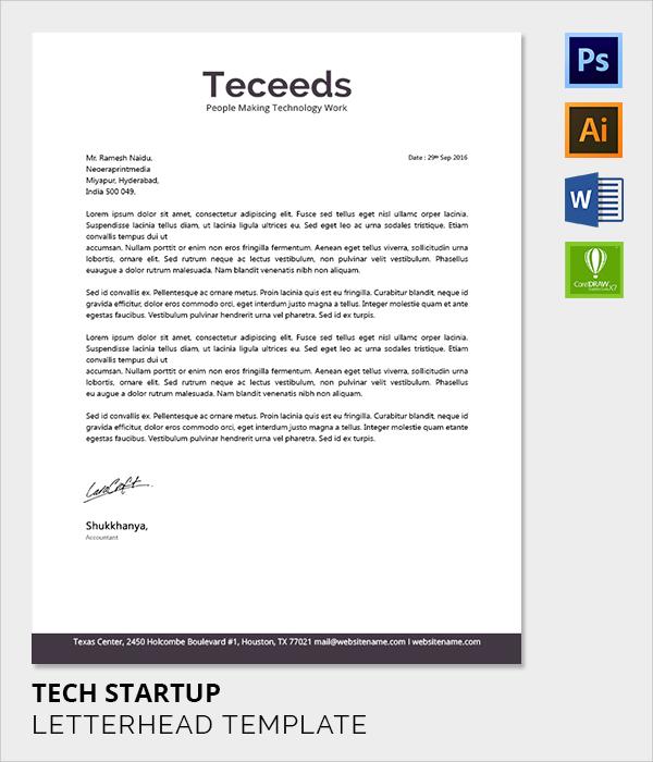 tech startup letter head template